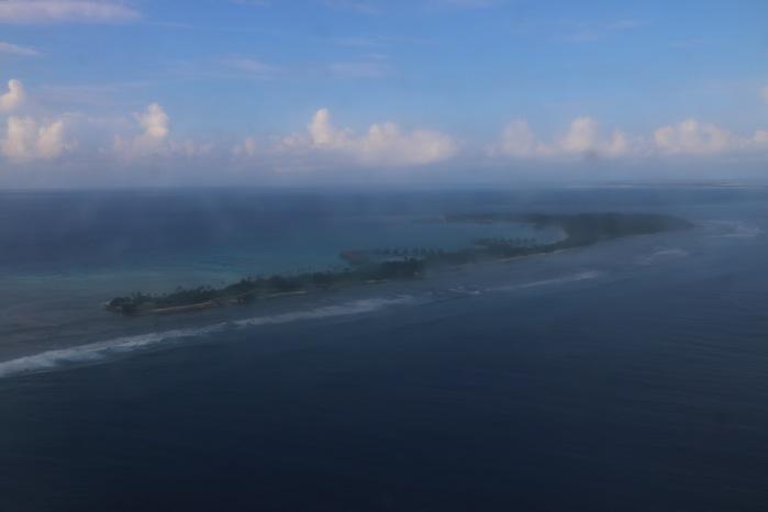 上空から見たシャングリラ モルディブ